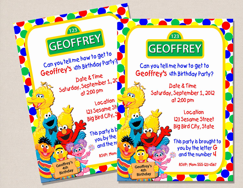 Sesame Street Birthday Invitation Templates Luxury Sesame Street Invitation Template Free