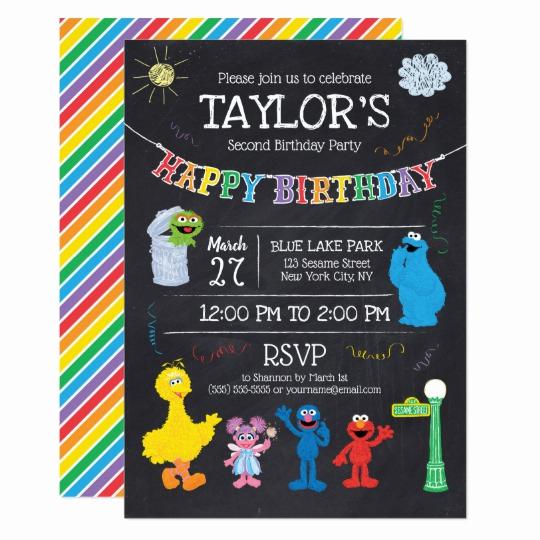 Sesame Street Birthday Invitation Templates New Sesame Street Pals Chalkboard Rainbow Birthday Invitation
