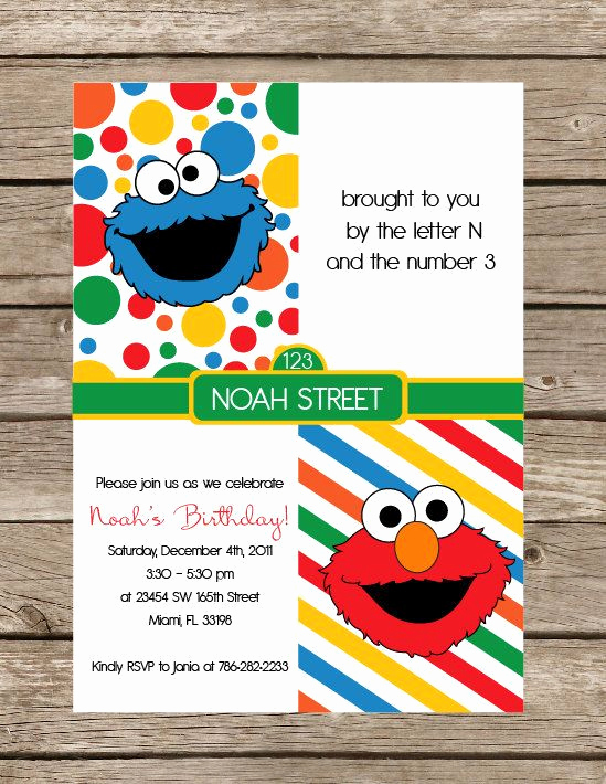Sesame Street Invitation Template Awesome Sesame Street Birthday Printable Invitation Elmo Cookie