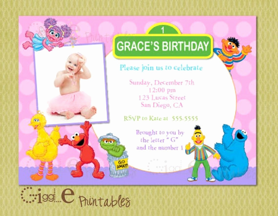 Sesame Street Invitation Template Best Of Elmo Sesame Street Birthday Invitation