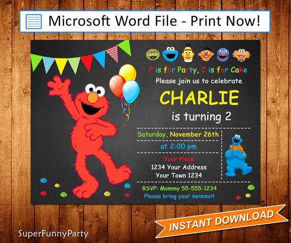 Sesame Street Invitation Template Free Elegant Elmo Invitation Sesame Street Invitation Editable Microsoft