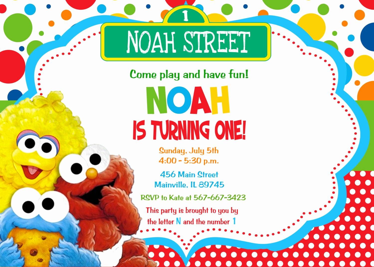 Sesame Street Invitation Template Free New Baby Elmo Sesame Street First Birthday Invitation Digital