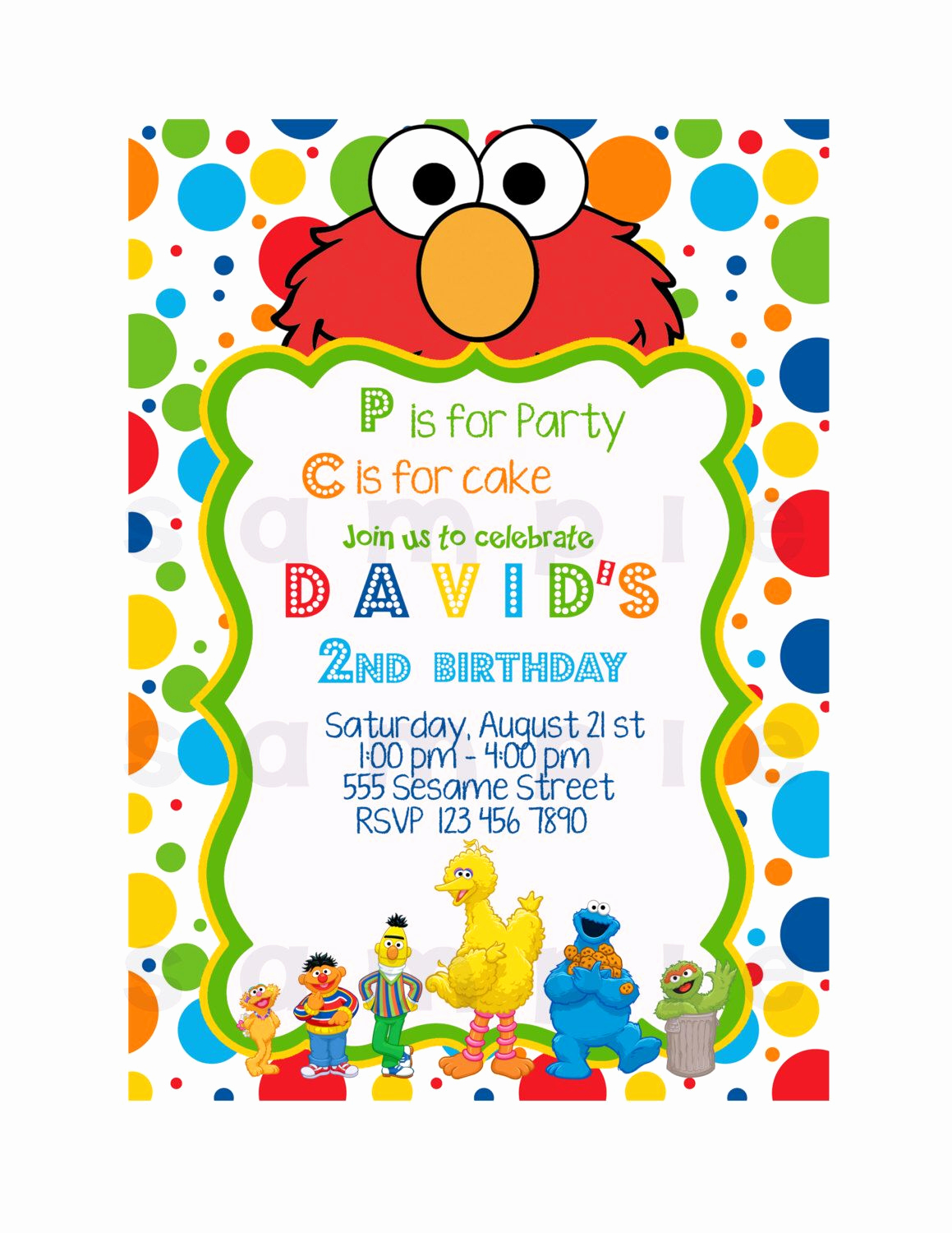 Sesame Street Invitation Template Inspirational Elmo Invitation Printable Invitation Sesame Street