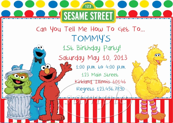 Sesame Street Invitation Template Lovely Sesame Street Birthday Party Invitations by Kid Creations1