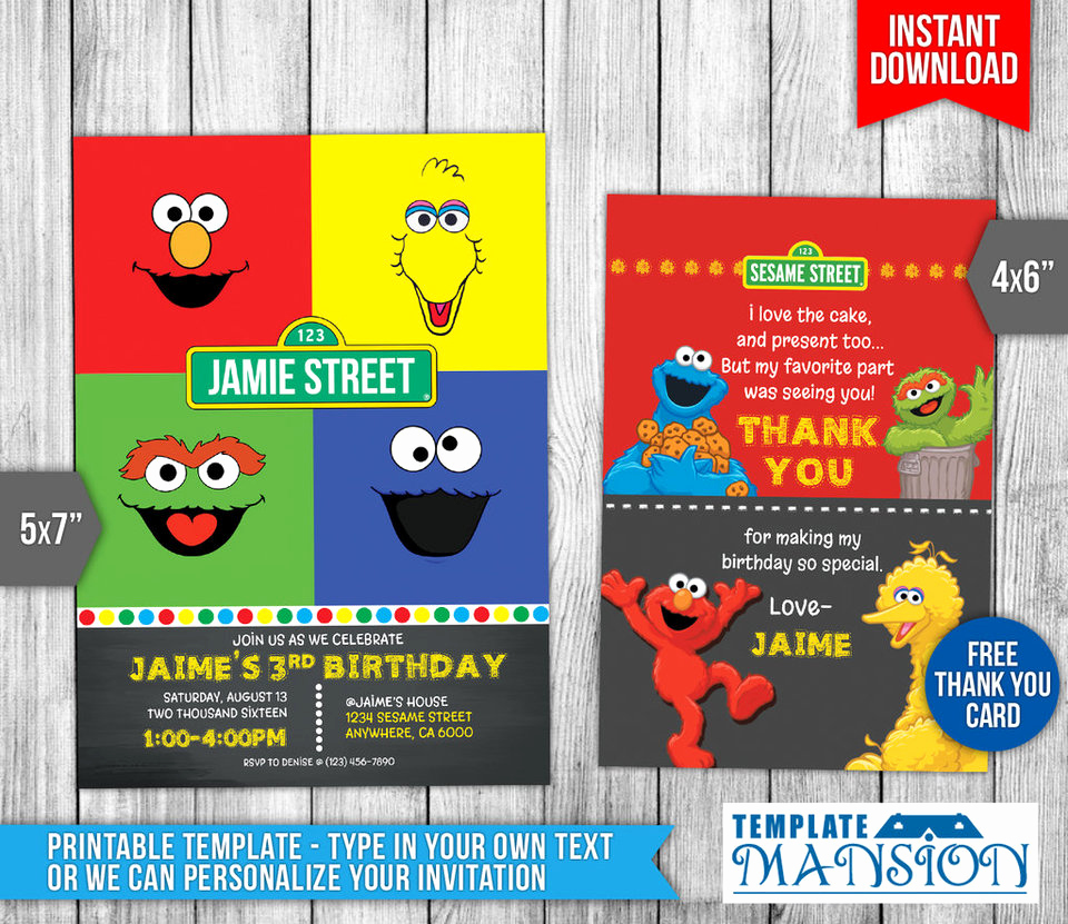 Sesame Street Invitation Template Luxury Sesame Street Birthday Invitation Invite Psd by