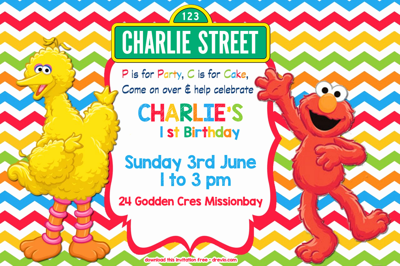 Sesame Street Invitation Template Unique Free Sesame Street Colorful Chevron Invitation Template