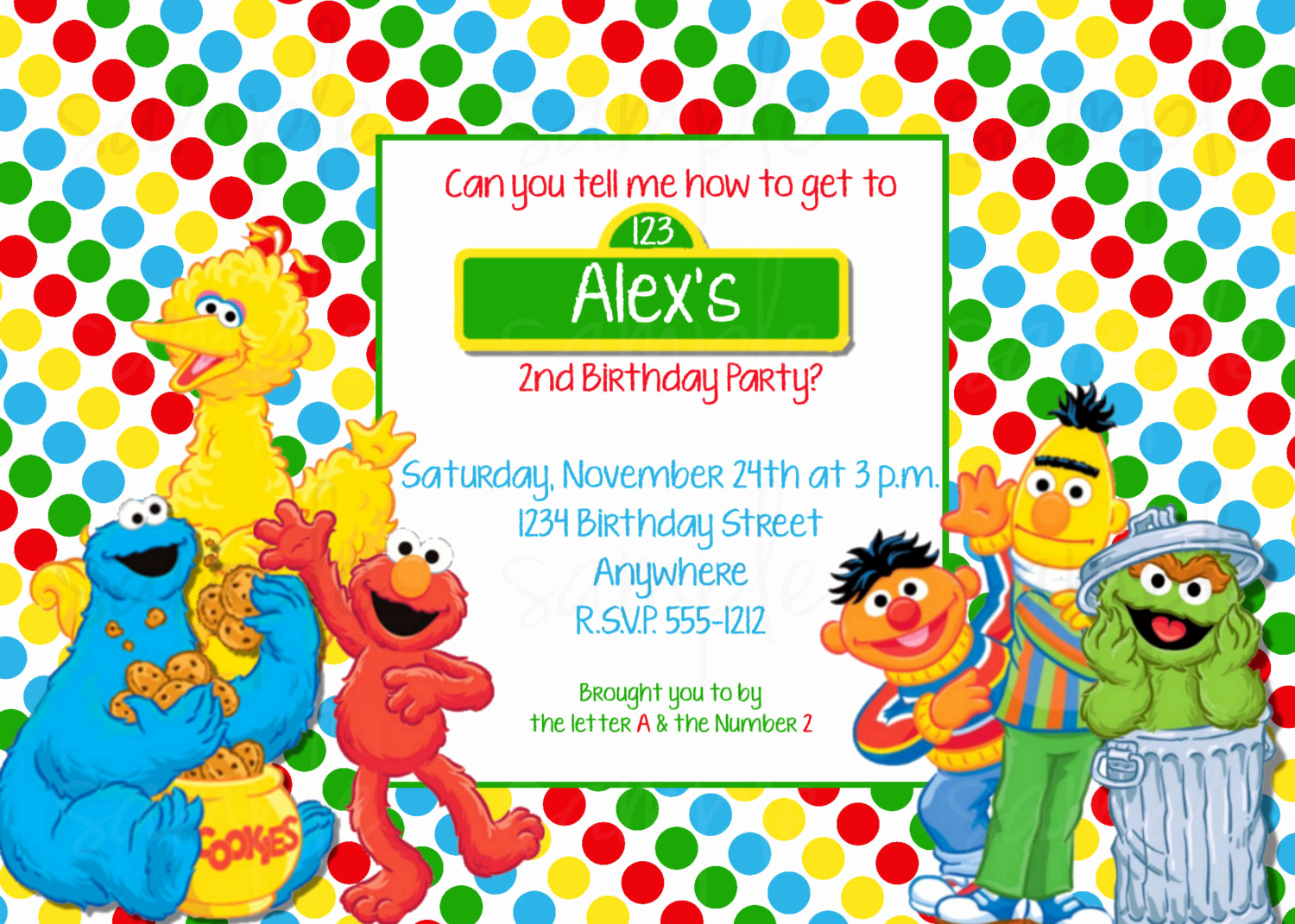 Sesame Street Invitation Templates Elegant Sesame Street Birthday Invitation