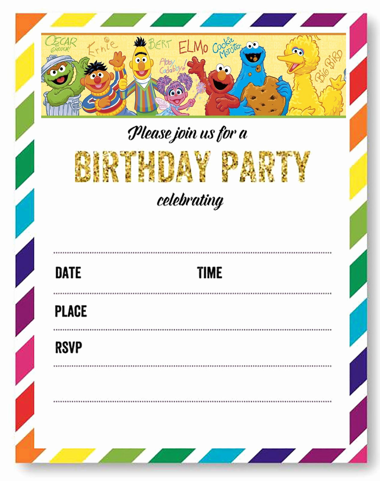 Sesame Street Invitation Templates Lovely Free Printable Sesame Street Invitation Templates