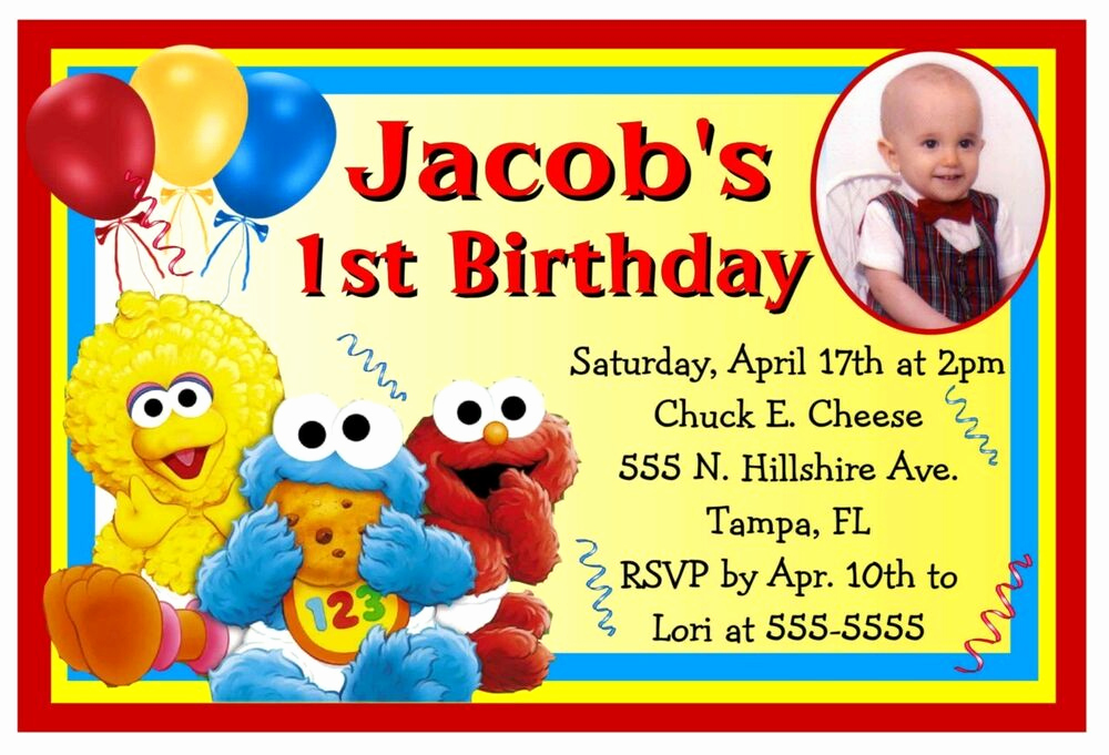 Sesame Street Invitation Templates New Baby Sesame Street Elmo Birthday Party Invitations W Photo