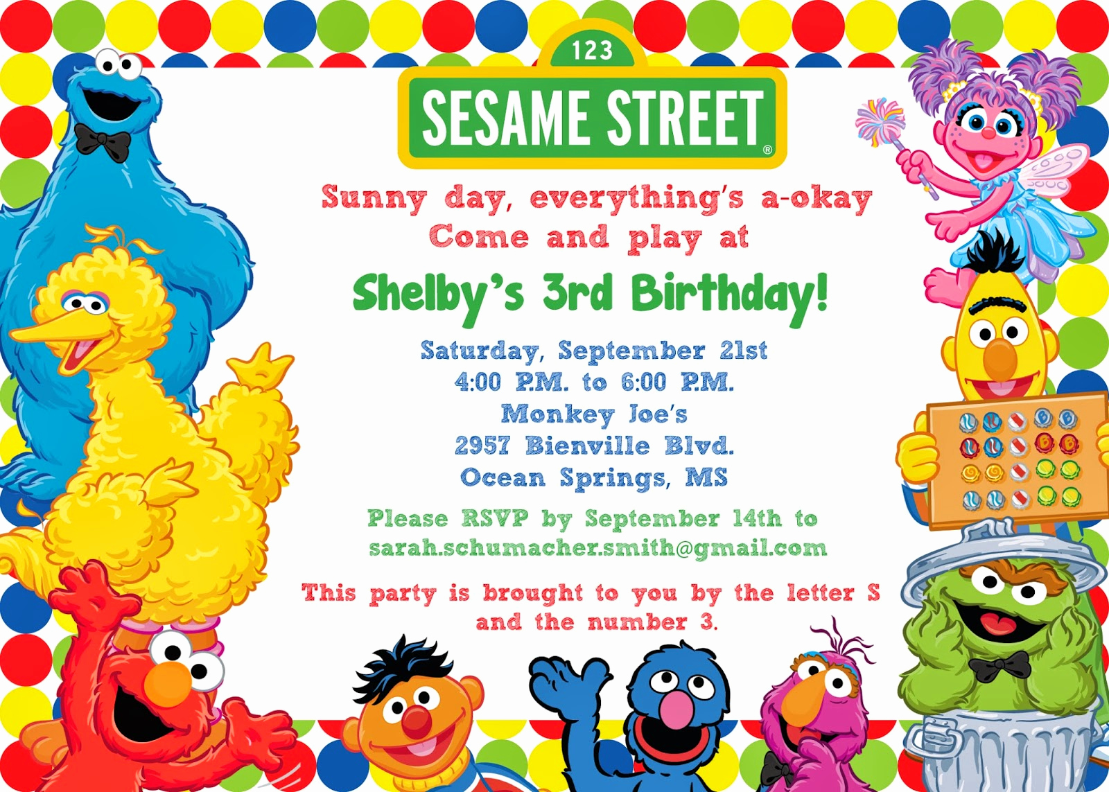 Sesame Street Invitation Templates Unique Free Sesame Street Birthday Invitations – Free Printable