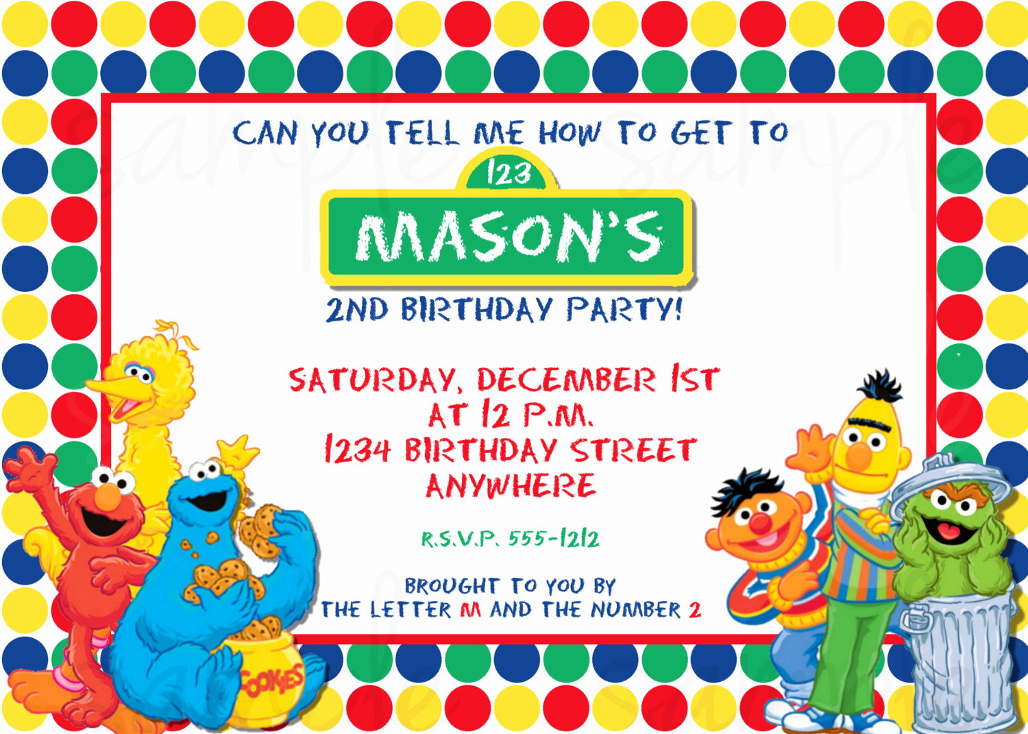 Sesame Street Invitation Templates Unique Sesame Street Birthday Invitation Elmo Birthday Invitation