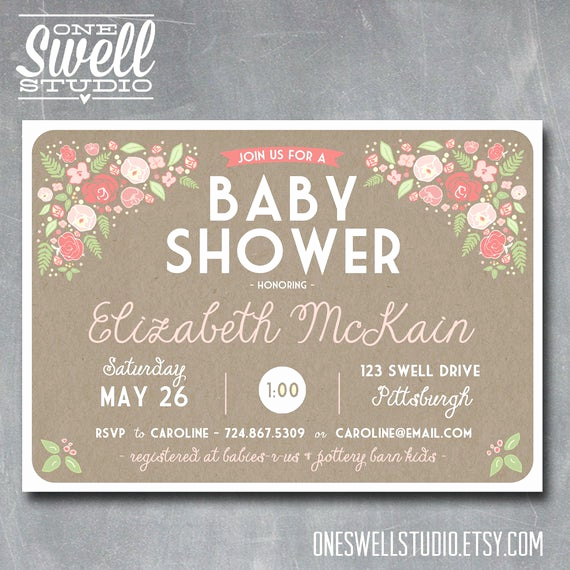Shabby Chic Baby Shower Invitation Awesome Girl Baby Shower Sweet Pink Shabby Chic Rustic by