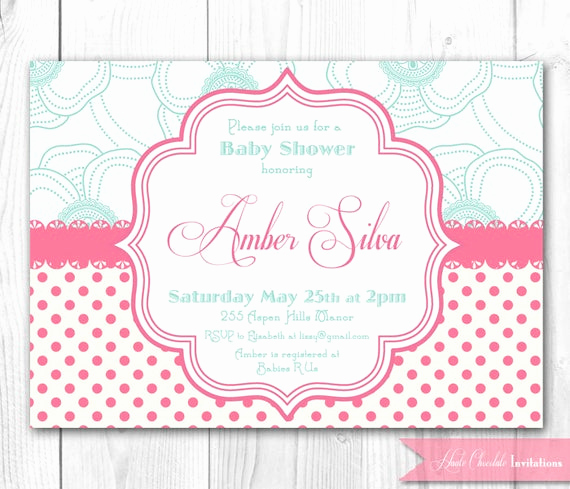 Shabby Chic Baby Shower Invitation Awesome Items Similar to Pink & Aqua Shabby Chic Baby Shower