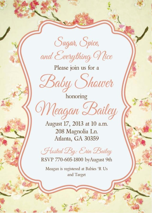 Shabby Chic Baby Shower Invitation Beautiful Shabby Chic Girls Baby Bridal Shower Birthday Tea Party