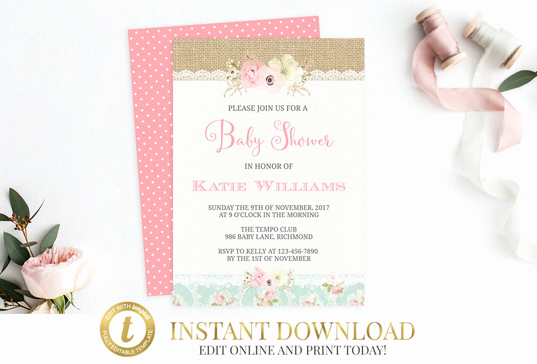 Shabby Chic Baby Shower Invitation Best Of Shabby Chic Baby Shower Invitation Printable Invitation