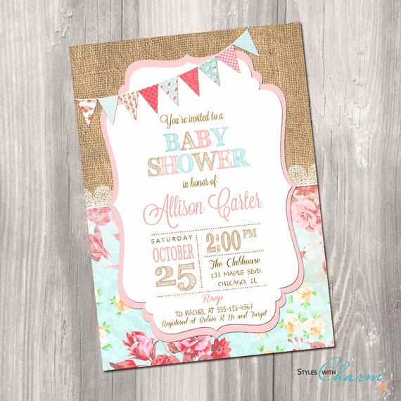 Shabby Chic Baby Shower Invitation Fresh Shabby Chic Baby Shower Invitation Girl Baby Shower