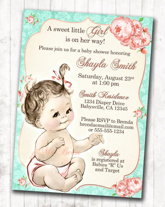 Shabby Chic Baby Shower Invitation Fresh Shabby Chic Floral Vintage Baby Shower Invitation for Girl