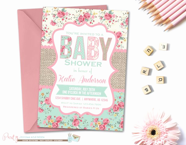 Shabby Chic Baby Shower Invitation Inspirational Burlap Shabby Chic Baby Shower Baby Shower Invitation