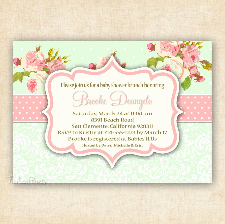 Shabby Chic Baby Shower Invitation Inspirational Green and Pink Shabby Chic Floral and Damask Baby Shower