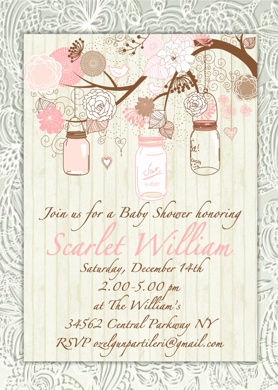 Shabby Chic Baby Shower Invitation Lovely Items Similar to Rustic Shabby Chic Mason Jar Baby Girl