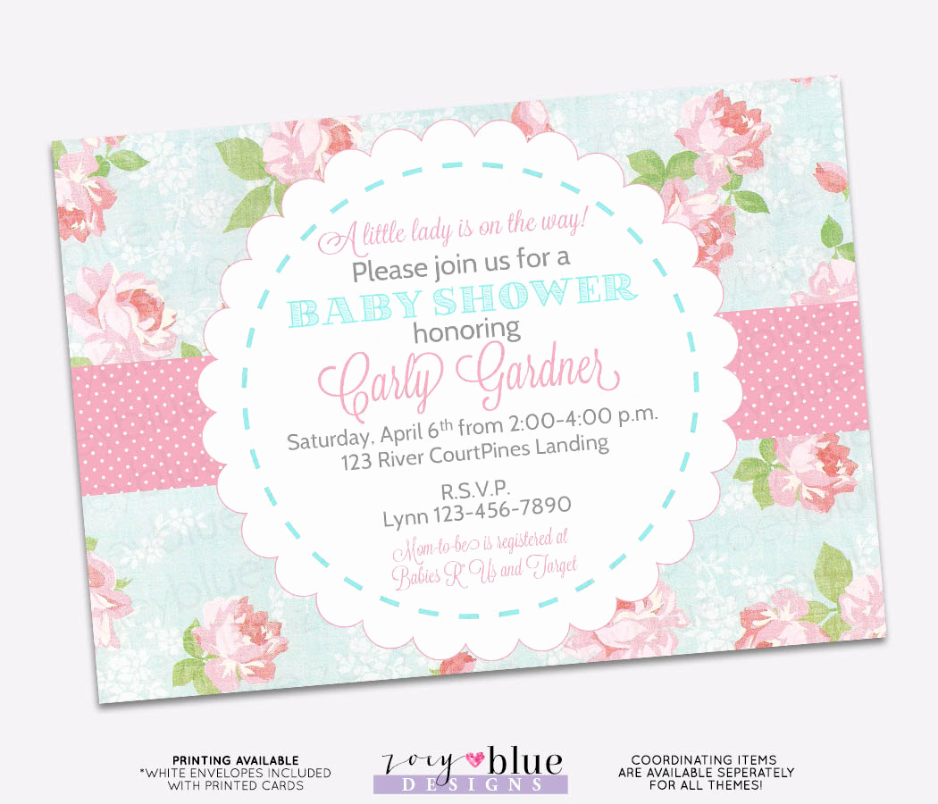 Shabby Chic Baby Shower Invitation Lovely Shabby Chic Baby Shower Invitation Vintage Floral Pink Blue