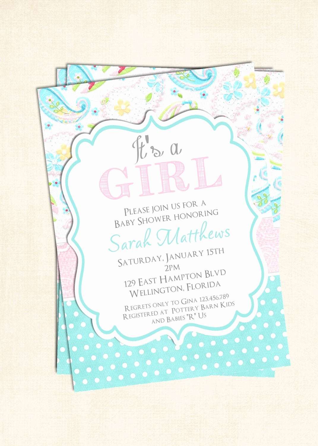 Shabby Chic Baby Shower Invitation New Baby Girl Shower Invitation Shabby Chic Paisley Baptism or