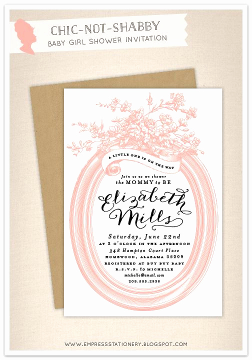 Shabby Chic Baby Shower Invitation New Empress Stationery Chic Not Shabby Baby Shower Invitation