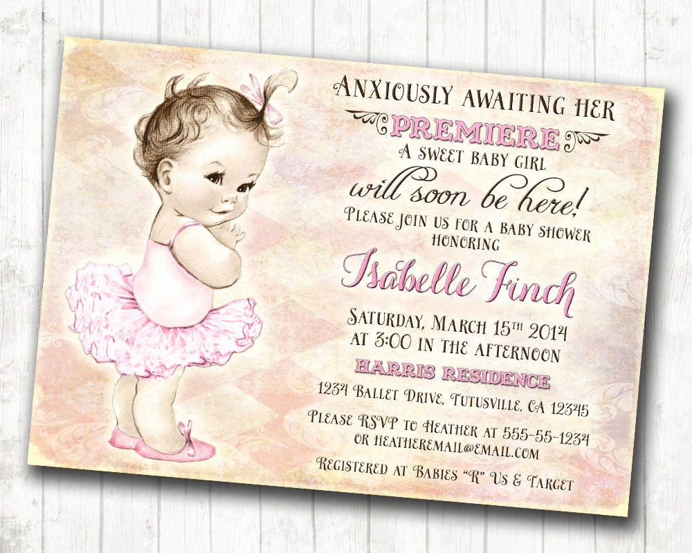Shabby Chic Baby Shower Invitation New Girl Baby Shower Invitation Shabby Chic Ballerina Baby
