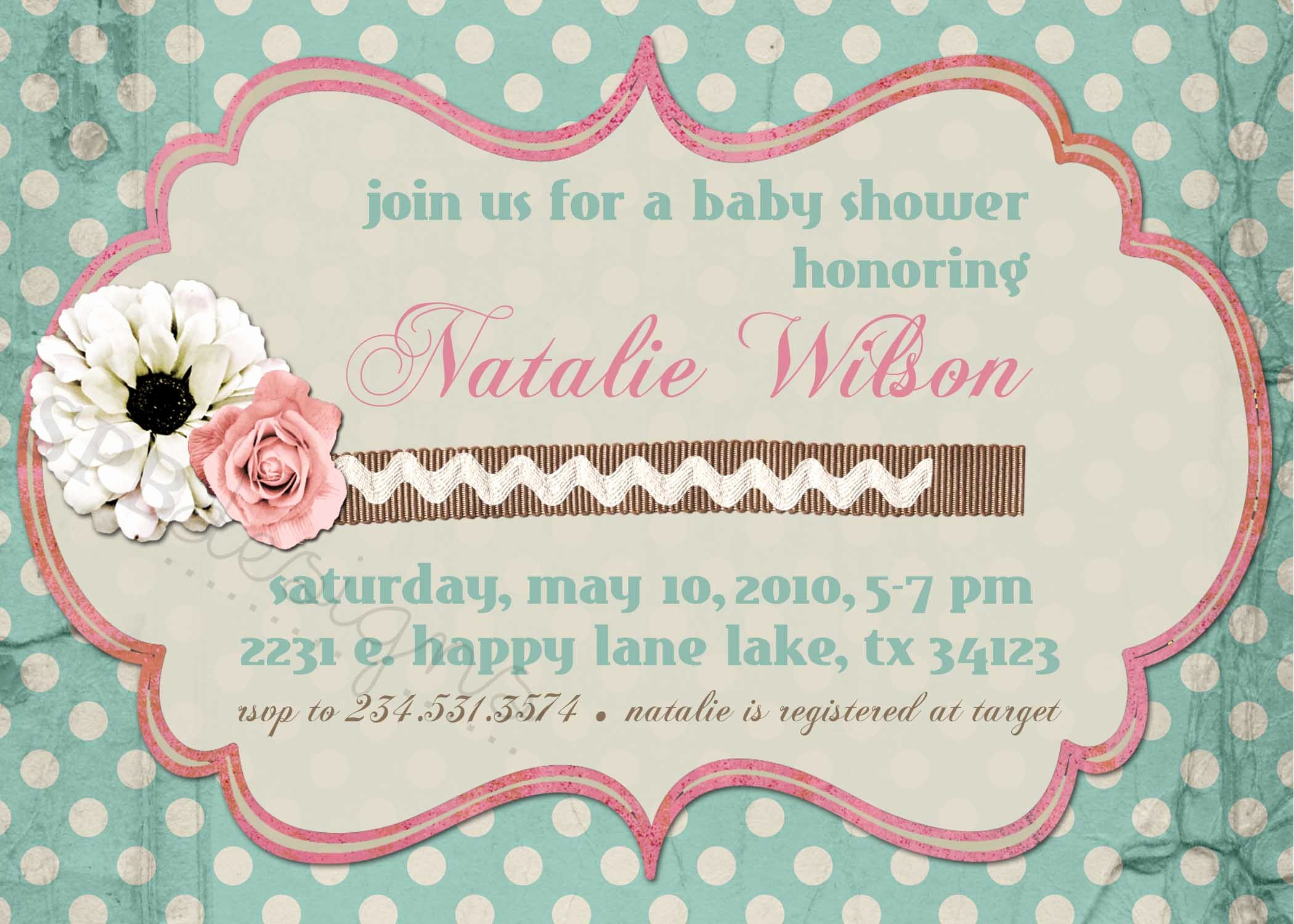 Shabby Chic Baby Shower Invitation New Shabby Chic Baby or Bridal Shower Invitation