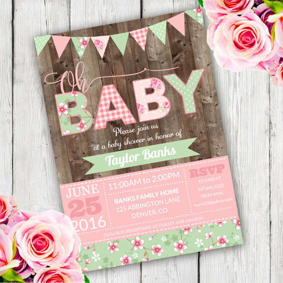 Shabby Chic Baby Shower Invitation New Shabby Chic Baby Shower Invitation Template Edit with
