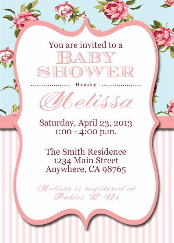 Shabby Chic Baby Shower Invitation Unique Items Similar to Printable Shabby Chic Baby Shower