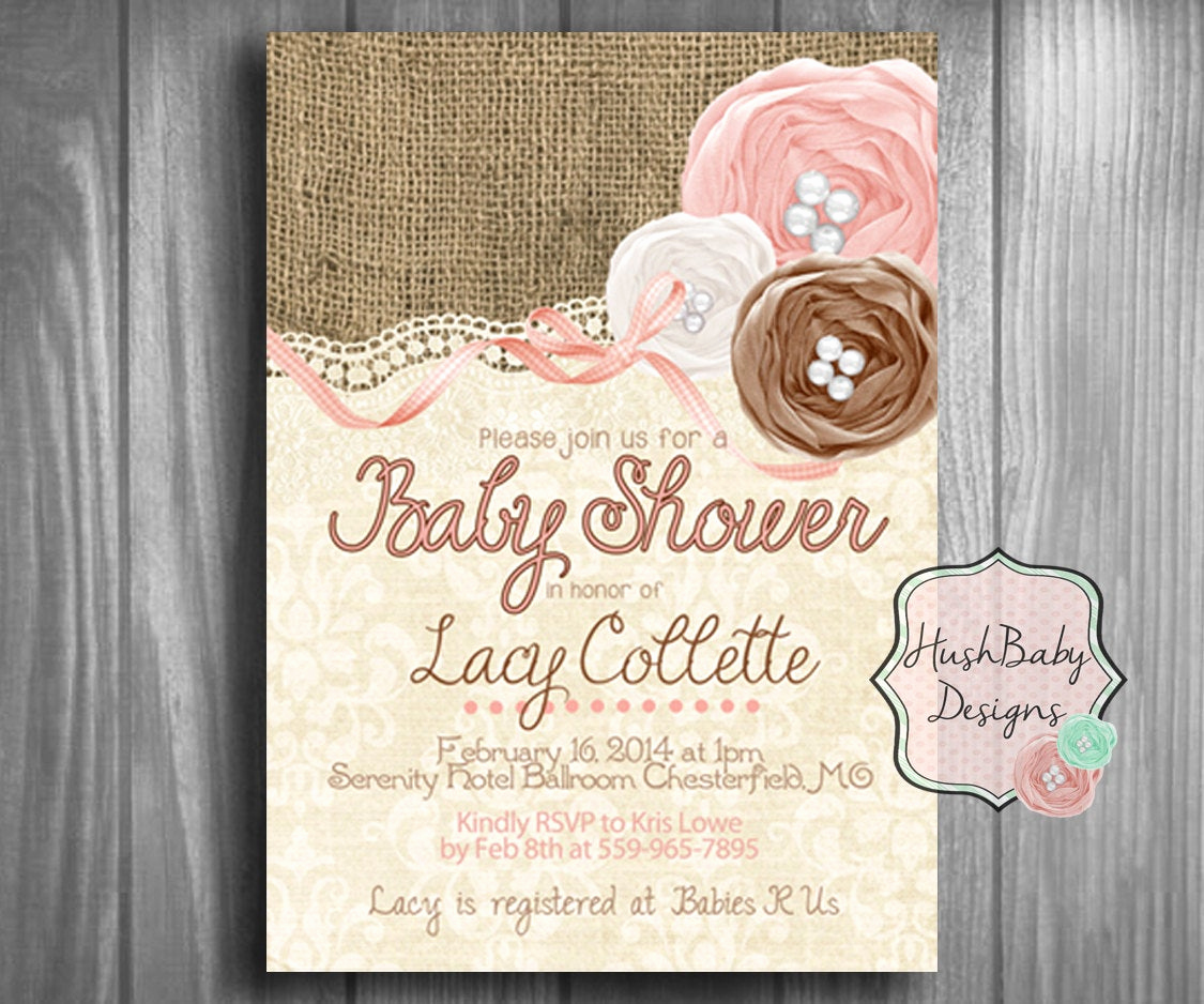 Shabby Chic Baby Shower Invitation Unique Shabby Chic Rustic Burlap Lace Baby Shower Invitation