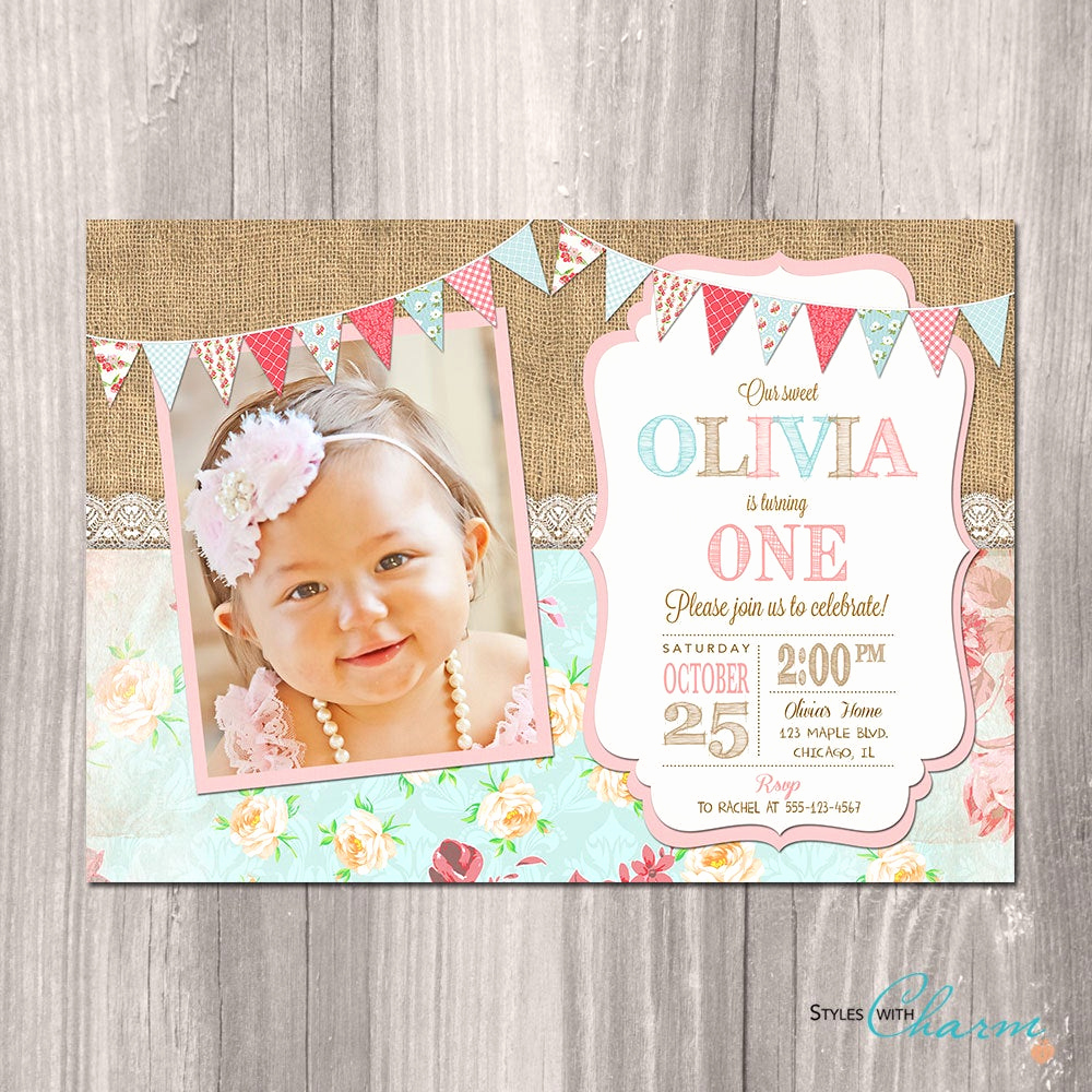 Shabby Chic Invitation Templates Free Awesome Shabby Chic Birthday Invitation Girl First 1st Birthday