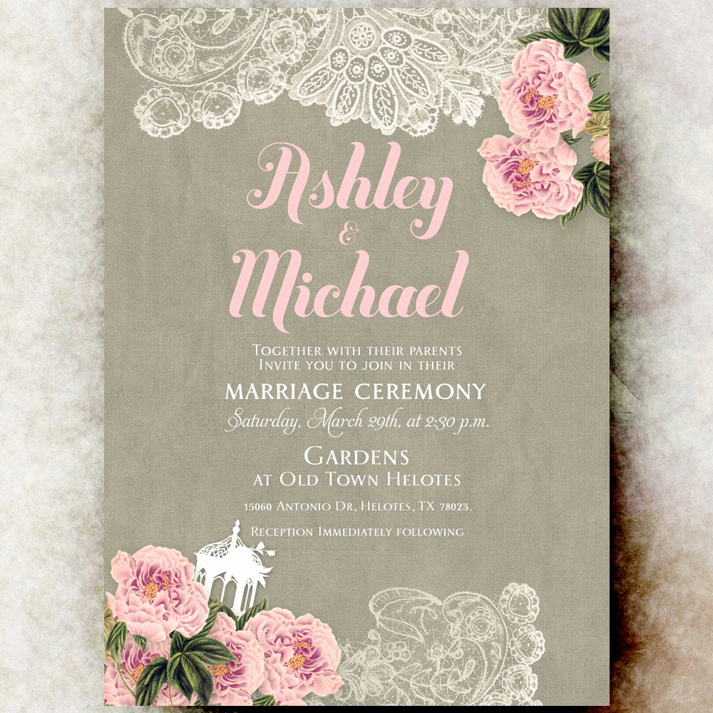 Shabby Chic Invitation Templates Free Awesome Shabby Chic Wedding Invitation Lace Wedding Invitation