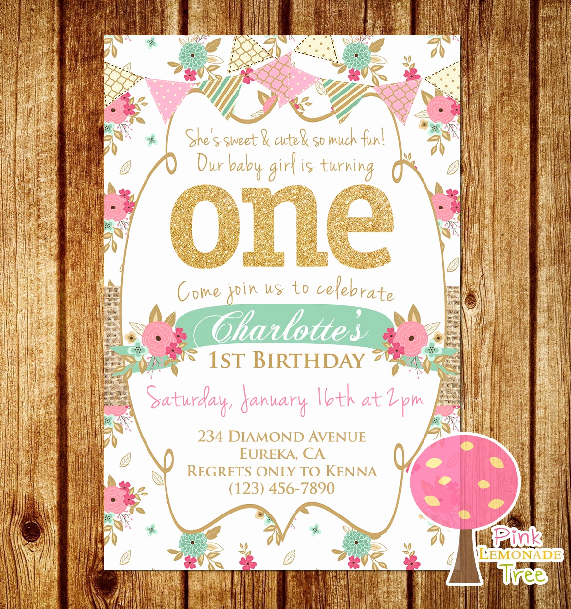 Shabby Chic Invitation Templates Free Best Of Shabby Chic First Birthday Party Invitation Gold Glitter