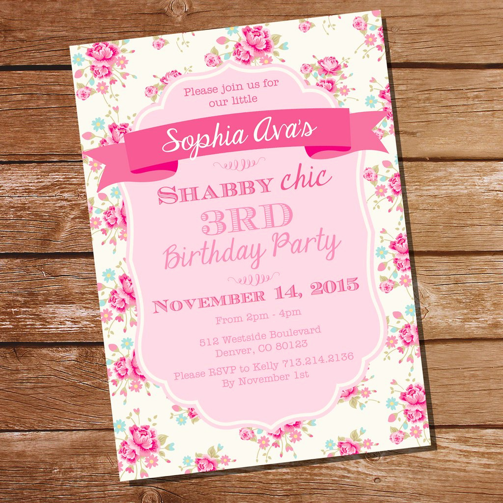 Shabby Chic Invitation Templates Free Best Of Shabby Chic Floral Birthday Party Invitation