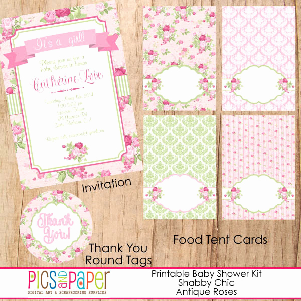 Shabby Chic Invitation Templates Free Elegant Shabby Chic Baby Shower theme Printable Party Kit for A Baby