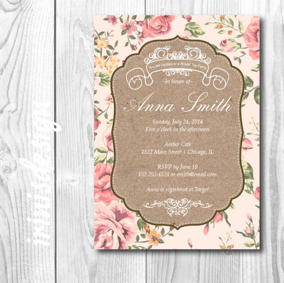 Shabby Chic Invitation Templates Free Luxury Items Similar to Antique Bridal Shower Tea Party Invite