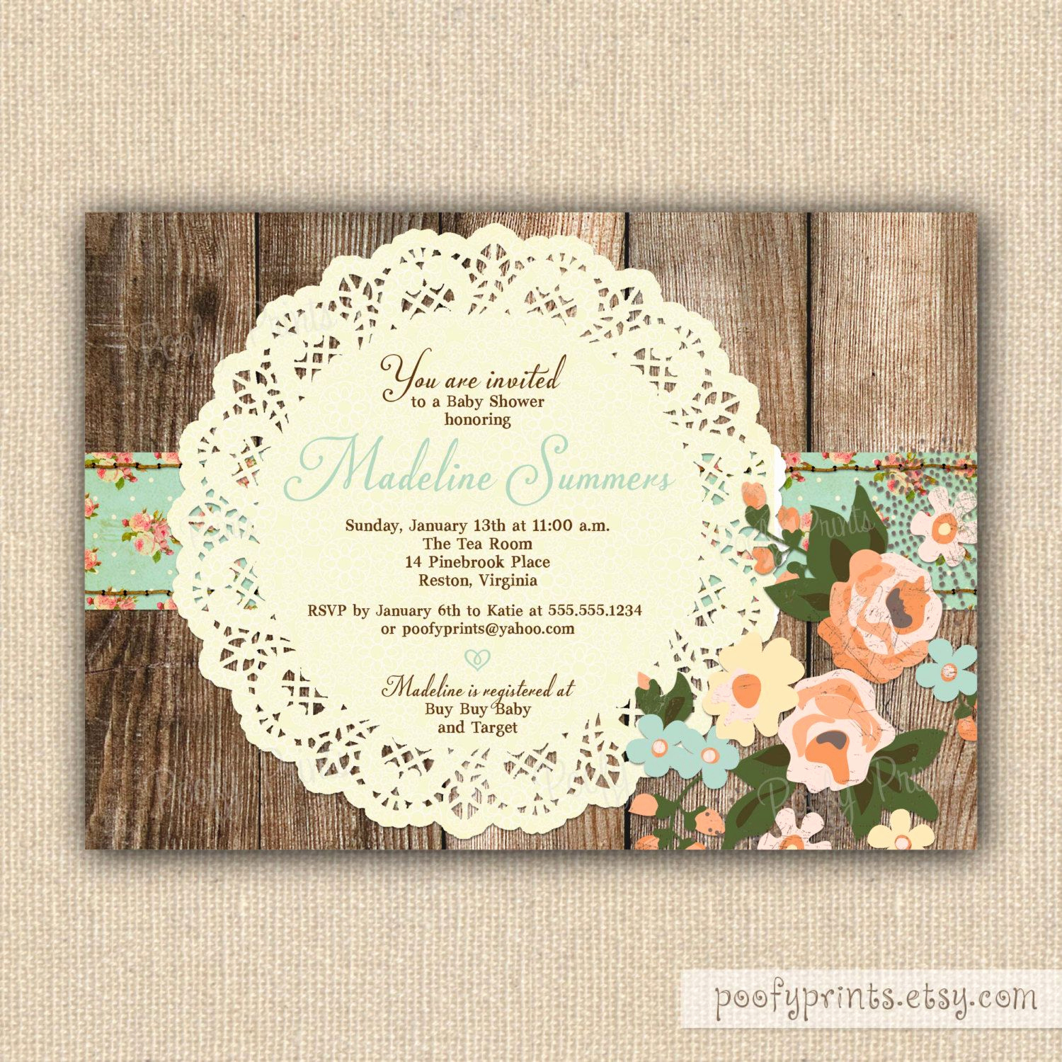 Shabby Chic Invitation Templates Free Luxury Rustic Shabby Chic Baby Shower Invitations Diy Printable