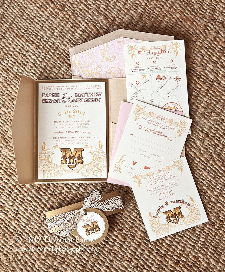 Shabby Chic Invitation Templates Free Luxury Shabby Chic Wedding Invitation Set On Etsy by Perfectpapers