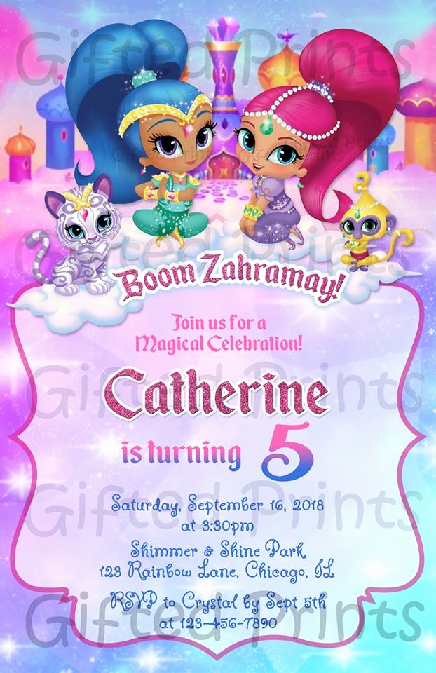 Shimmer and Shine Birthday Invitation Awesome Birthday Invitation Shimmer and Shine theme