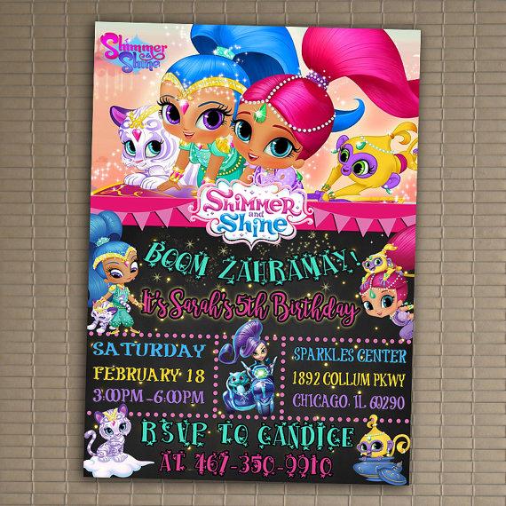 Shimmer and Shine Birthday Invitation Beautiful Shimmer and Shine Invitation You Print Invitation Shimmer