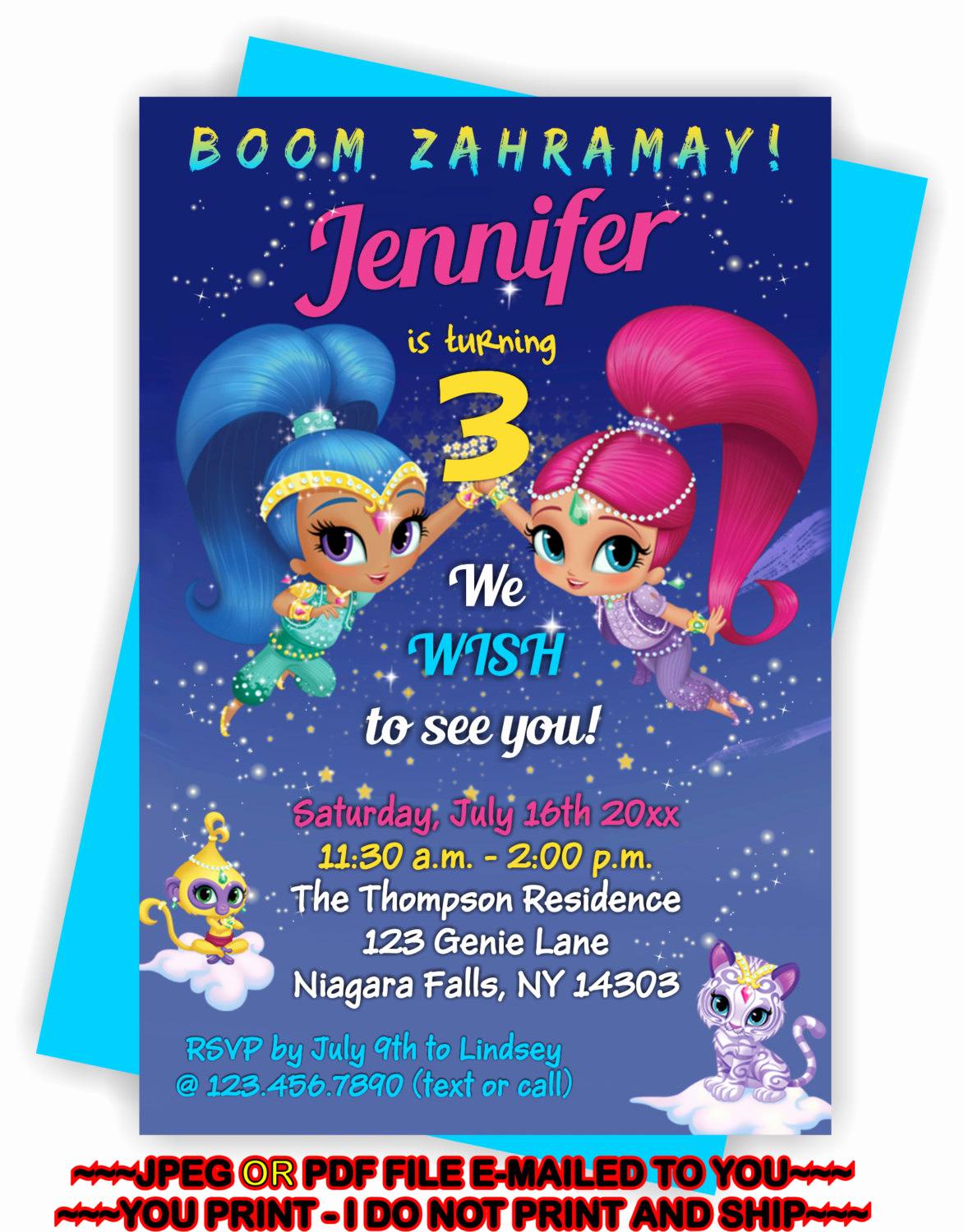 Shimmer and Shine Birthday Invitation Beautiful You Print Shimmer and Shine Birthday Invitation by