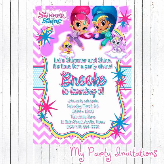 Shimmer and Shine Birthday Invitation Elegant Shimmer and Shine Birthday Invitation Diy by
