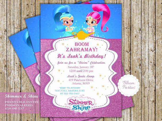 Shimmer and Shine Birthday Invitation Elegant Shimmer and Shine Genie Birthday Invitation