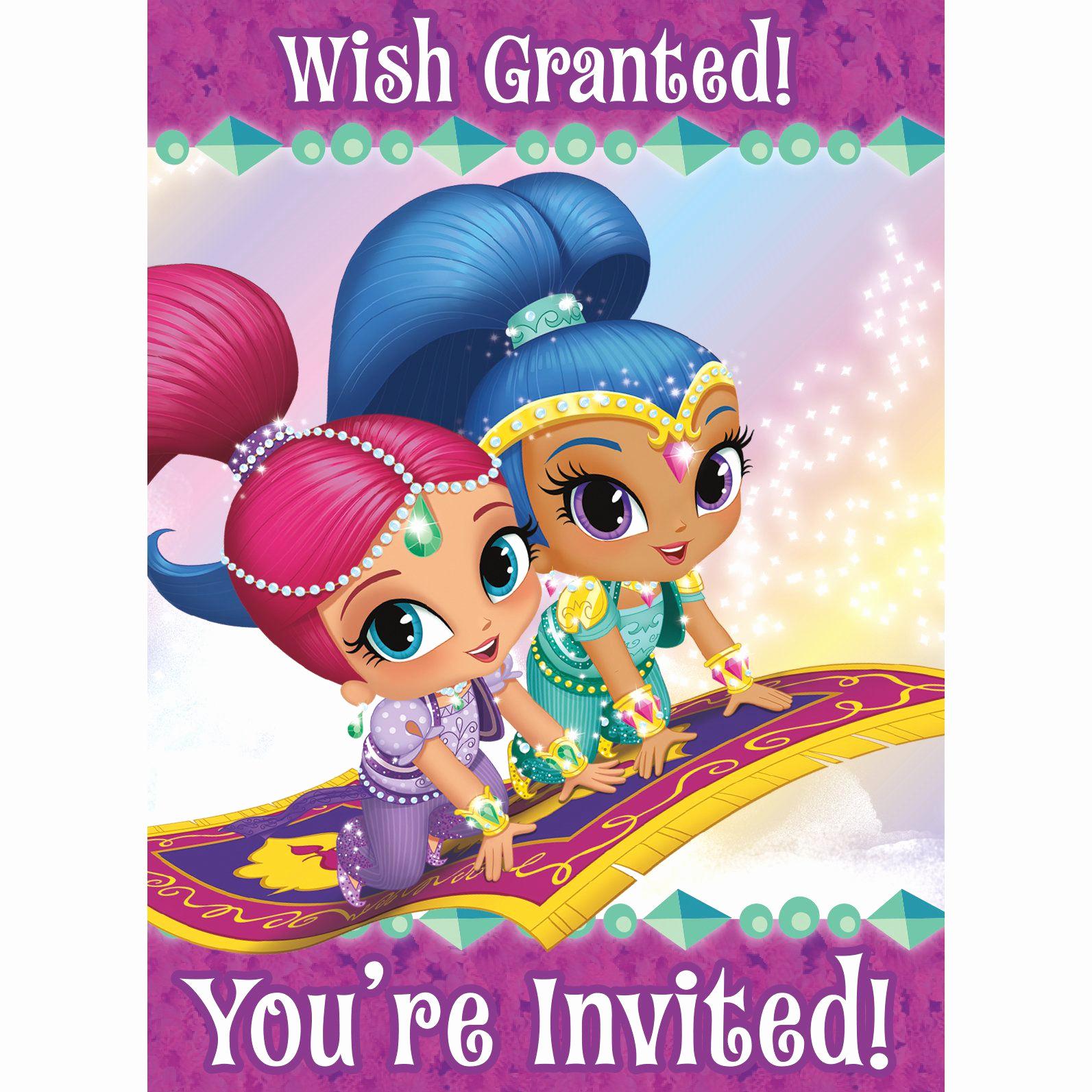 Shimmer and Shine Birthday Invitation Elegant Shimmer and Shine Invitations 8 Count