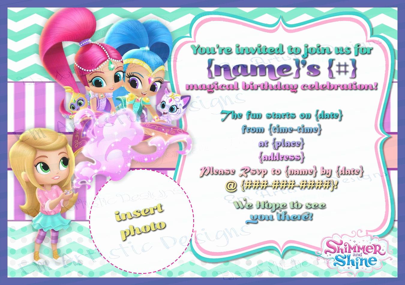 Shimmer and Shine Birthday Invitation Fresh Print at Home Shimmer and Shine Birthday Party Invitations