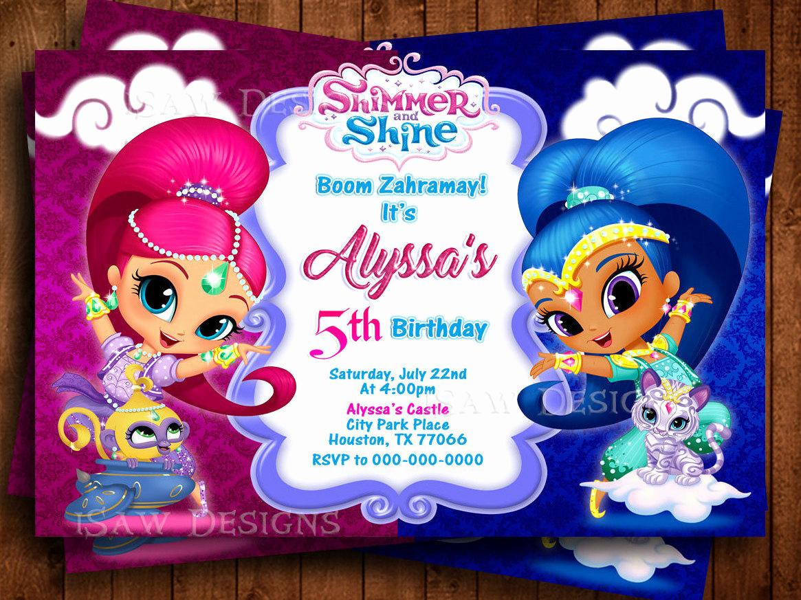 Shimmer and Shine Birthday Invitation Fresh Shimmer and Shine Digital Personalized Invitations Boom