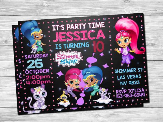 Shimmer and Shine Birthday Invitation Fresh Shimmer and Shine Invitation Shimmer and Shine by