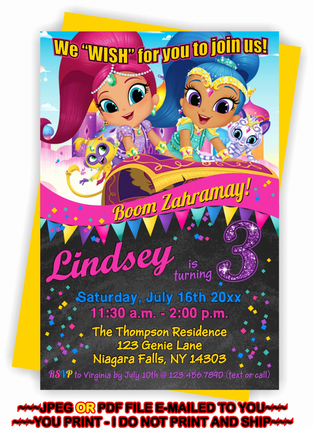 Shimmer and Shine Birthday Invitation Fresh You Print Shimmer and Shine Birthday Invitation Shimmer and